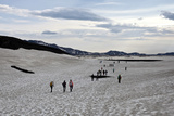 People Walk across Snow to Get to the Stratovolcano Askja Photographic Print by Jill Schneider