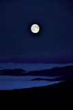 A Blue Moon over Cloud-Filled Valleys of the Blue Ridge Mountains Photographic Print by Amy White and Al Petteway