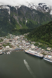 An Aerial View of Cruise Ships and a Seaplane in Juneau's Harbor Photographic Print by Jonathan Kingston