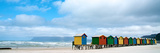 Brightly Colored Beach Huts at Fish Hoek on False Bay Fotografisk tryk af Heather Perry