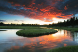Sunset over the Gibbon River in Yellowstone National Park Photographic Print by Robbie George
