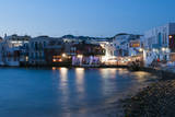 A Night View of the Little Venice Neighborhood on the Coast of the Aegean Sea Photographic Print by Sergio Pitamitz