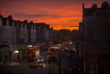 Stroud Green, a District in North London, Stirs to Life under a Dark Orange Sunrise Sky Photographic Print by Alex Treadway