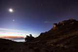 Night Sky with the Moon and Venus over Mountains Near Copacabana and Lake Titicaca Photographic Print by Alex Saberi