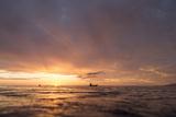 Canoes Off Tahiti Island at Sunset Photographic Print by Andy Bardon
