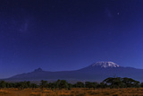 Mount Kilimanjaro in Moonlight. the Large and Small Magellanic Clouds Appear to the Left Photographic Print by Babak Tafreshi
