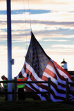 Workers Raise the American Flag at the Portland Head Light Photographic Print by Robbie George