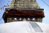Eyes of a Temple Stare Out in Katmandu Photographic Print by David Edwards