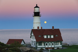The Harvest Moon Rises over the Portland Head Light Photographic Print by Robbie George