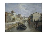 The Naviglio Canal Near the Church of San Marco, 1830 Giclee Print by Angelo Inganni
