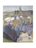 Women of Plougastel Having Picnic Lunch During their Journey to Sainte-Anne-La Palud, 1903 Giclee Print by Charles Edmund Brock