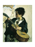 Urchin with a Guitar, 1877 Giclee Print by Antonio Mancini