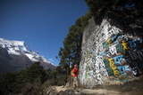 A Mani Wall Decorated with a Tibetan Mantra, Om Mani Padme Om, Thame Valley in the Everest Region Photographic Print by Alex Treadway