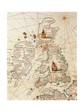 Europe: Great Britain and Ireland, from Atlas of the World in Thirty-Three Maps, 1553 Giclee Print by Battista Agnese