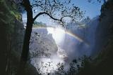 Zimbabwe Mosi-Oa-Tunya, 'Victoria Falls' on Zambezi River, Rainbow Fotografisk tryk