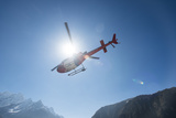 A Rescue Helicopter Takes Off from Namche in the Everest Region of Nepal Photographic Print by Alex Treadway