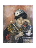 Child with a Mask Giclee Print by Antonio Mancini