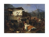 Refugees from Village Fire, 1851 Giclee Print by Domenico Induno