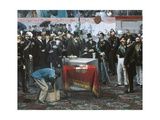 The Laying of the Cornerstone of the Galleria Vittorio Emanuele in Milan Giclee Print by Domenico Induno