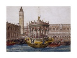 World Theatre, Tournament in Venice by Brotherhood of Knights of Garter, 1564, Italy Giclée-tryk af Giovanni Lanfranco