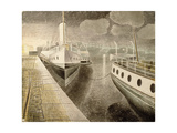 Paddle Steamers at Night Giclee Print by Eric Ravilious