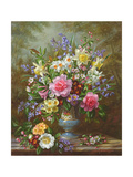 Bluebells, Daffodils, Primroses and Peonies in a Blue Vase Giclee Print by Albert-Charles Lebourg