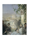 News of the Peace of Villafranca, Detail, 1862 Giclee Print by Domenico Induno