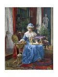 Woman with Embroidery Frame Giclee Print by Tobias Stranover