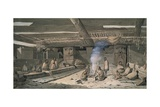 Interior of Nootka Native American House, 1778 Giclee Print by John Wootton