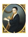 Portrait of Maddalena Goujon at the Harp Giclee Print by Rudolph von Alt