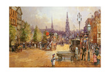Cab Stand in the Strand Giclee Print by John White