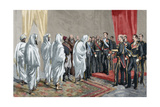 Alphonse XII Receiving the Congratulations of the Moroccan Embassy Giclee Print by Arturo Ferrari