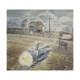 Tree Trunk and Wheelbarrow Giclee Print by Eric Ravilious