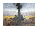 Two Shepherds on the Fields of Mongini, 1901 Giclee Print by Giuseppe Pelizza da volpedo