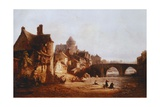 The Old Bridge, the Castle and Belaille Mill in Laval Giclee Print by Jean-baptiste Nolin