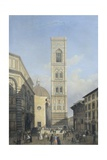 View of the Bell Tower of the Cathedral in Florence Giclee Print by Lorenzo Delleani