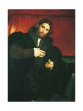 Portrait of a Gentleman with a Lion Paw Giclée-tryk af Lorenzo Monaco
