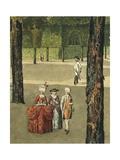 Austria, Stroll in Schonbrunn Gardens Near Vienna Giclee Print by Lorenzo Delleani