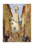 Sicilian Village with Women and Children Giclee Print by Luigi Sabatelli