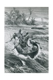 Stanley Overcomes the Rapids on the Congo River Giclee Print by Emile Bernard