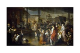 The Vote of the Citizens of Carmarthenshire to End the Plague of 1630 Giclée-Druck von Luigi Vanvitelli