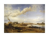 France, Burgundy, Chalon-Sur-Saone, View in 1837 Giclee Print by Eugene Flandin