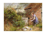 Feeding the Ducks Giclee Print by Myles Birket Foster