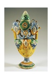 Puzzle Flask, Painted Maiolica, Ariano Irpino Manufacture, Campania, Italy Giclee Print by Henri Cros