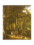 Travellers on a Path in a Wooded Landscape Giclee Print by Jan Massys or Metsys
