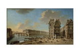 France, Paris, L'Ile Saint Louis and Pont-Rouge as Seen from Place De Greve Giclee Print by Nicolo Bambini