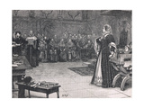 Trial of Mary Queen of Scots in Fotheringay Castle 1586 Gicleetryck av Henry Moore