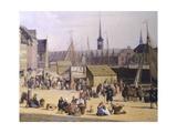 Denmark, Trade Life at the Port of Copenaghen, 1844, Detail Giclée-tryk af Salvator Rosa