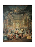 Masked Ball in the Hall of the Hoftheater in Bonn, Detail, 1755 Giclee Print by Johann Jacob Tischbein