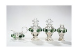 Tea Service Partially Engraved and Covered with Green Glass Giclee Print by Michael Dahl